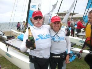 Celebrating winning Hobie 16 Grand Masters in Fiji 2007
